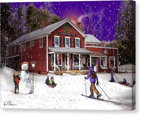 First Snow At The South Woodstock Country Store Canvas Print