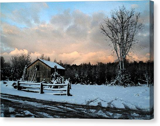 First Snow Canvas Print by Linda Joyce Ott
