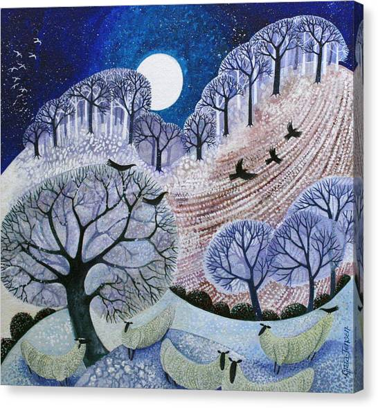 Full Moon Canvas Print - First Snow Surrey Hills by Lisa Graa Jensen