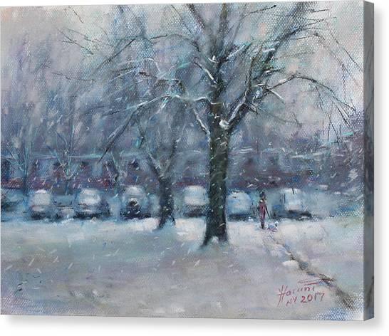 Snowfall Canvas Print - First Snowfall 2017  by Ylli Haruni