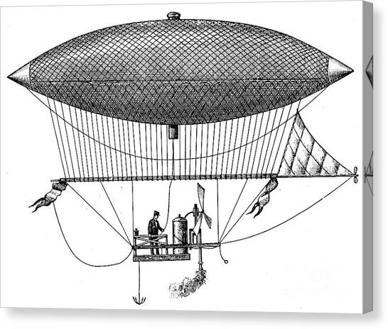 Blimps Canvas Print - First Steam Powered Airship Designed By Henri Giffard, 1922 by French School