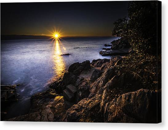 First Rays Over The Adriatic Canvas Print