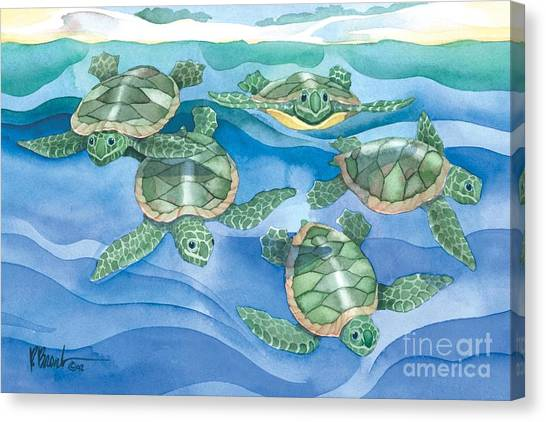 Turtles Canvas Print - First Swim by Paul Brent