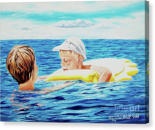 First Swimming - Nadar Primero Canvas Print