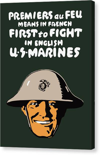 Marines Canvas Print - First To Fight - Us Marines by War Is Hell Store