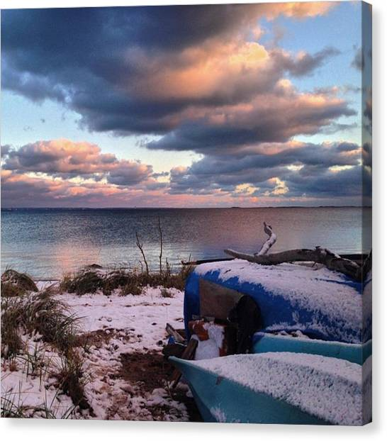 #firstsnow #provincetown Canvas Print by Ben Berry