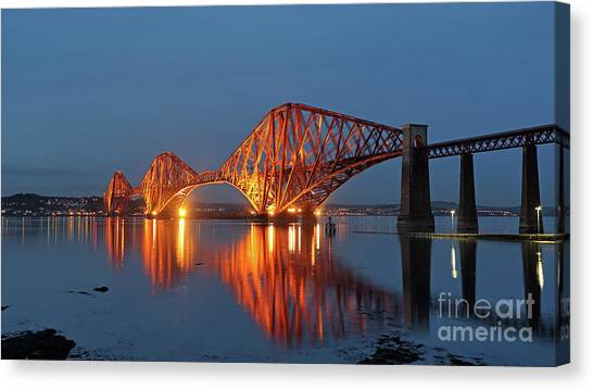 Forth Bridge At Twilight Canvas Print by Maria Gaellman