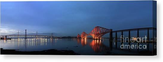 Firth Of Forth Bridges At Twilight - Panorama Canvas Print by Maria Gaellman