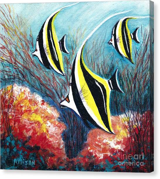 Moorish Idol Fish And Coral Reef Canvas Print