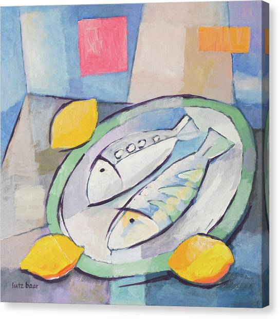 Dinner Table Canvas Print - Fish And Lemon Painting by Lutz Baar