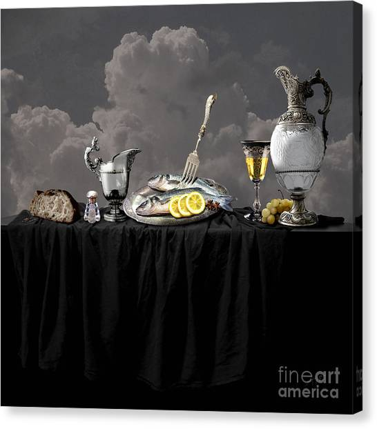 Fish Diner In Silver Canvas Print