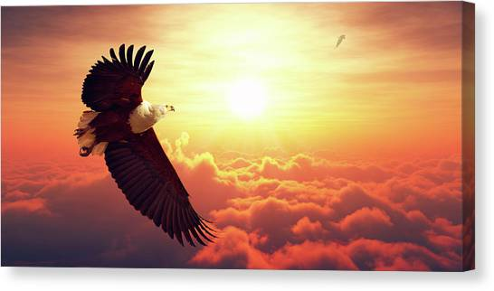 Eagle Canvas Print - Fish Eagle Flying Above Clouds by Johan Swanepoel