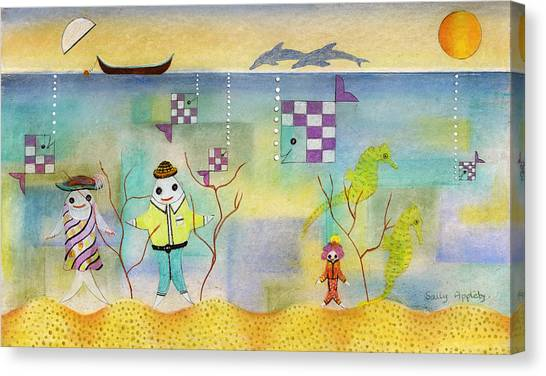 Fish Family Canvas Print by Sally Appleby