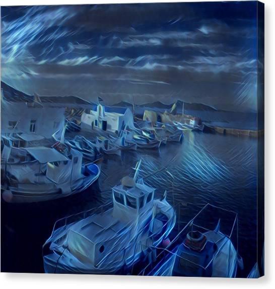 Fish Harbour Paros Island Greece Canvas Print