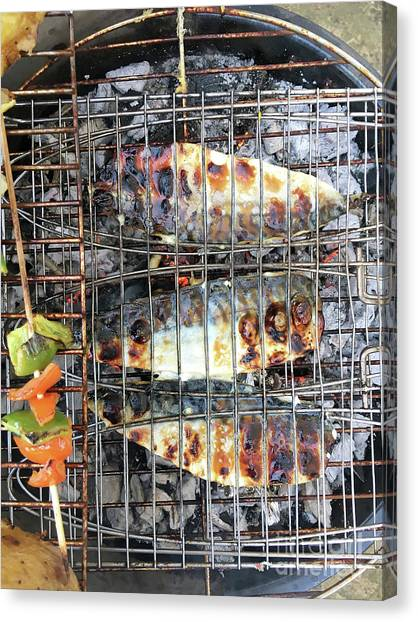 Fillet Canvas Print - Fish On The Bbq by Tom Gowanlock