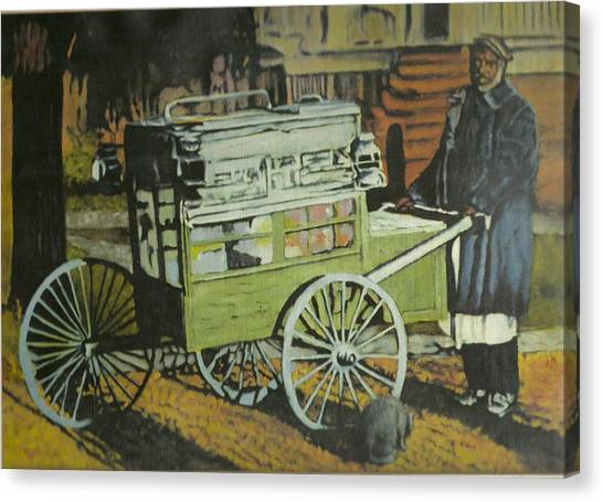 Fish Peddler Canvas Print by Perry Ashe