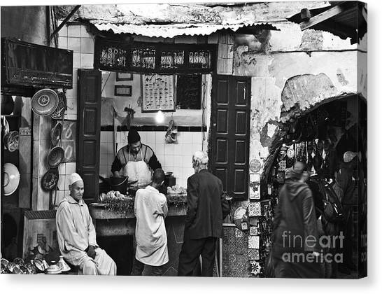 Moroccon Canvas Print - Fish Shop by Marion Galt