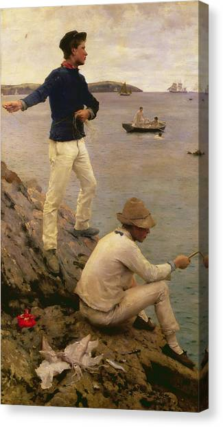 Squids Canvas Print - Fisher Boys Falmouth by Henry Scott Tuke