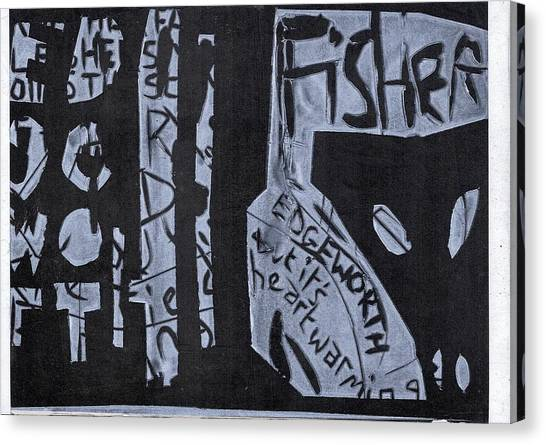 Fisher Covers White On Black Canvas Print