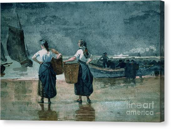 Waiting Girl Canvas Print - Fisher Girls By The Sea by Winslow Homer