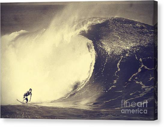 Surfing Canvas Print - Fisher Heverly At Pipeline by Paul Topp