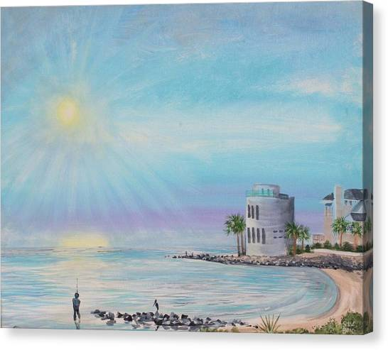 Fisher Man At Breach Inlet Canvas Print