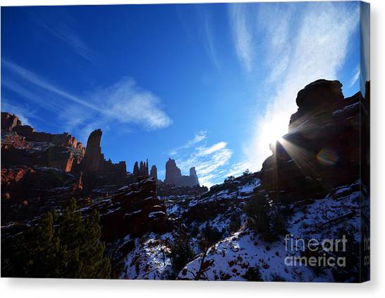 Canvas Print featuring the photograph Fisher Towers by Kate Avery