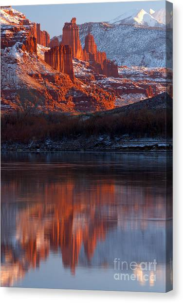 Moenkopi Sandstone Canvas Print - Fisher Towers Sunset Reflections by Adam Jewell