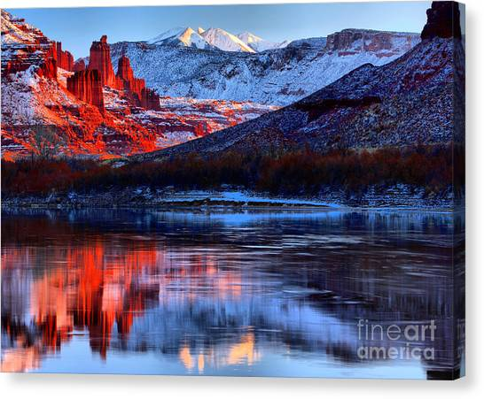 Moenkopi Sandstone Canvas Print - Fisher Towers Sunset Winter Landscape by Adam Jewell