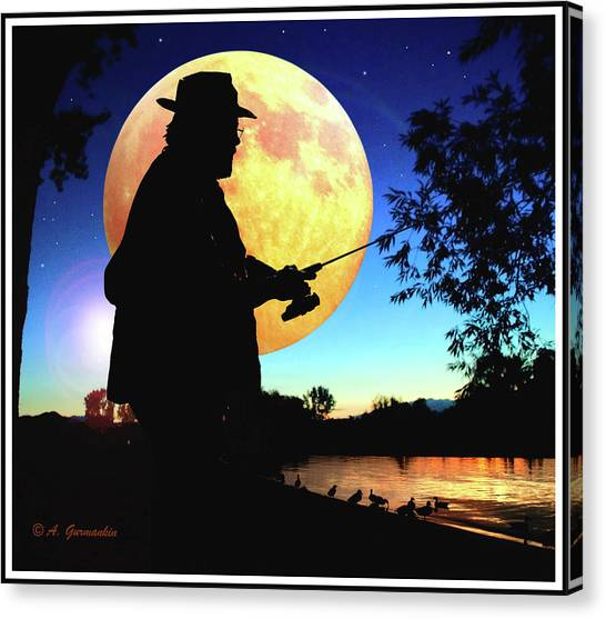 Fisherman In The Moolight Canvas Print