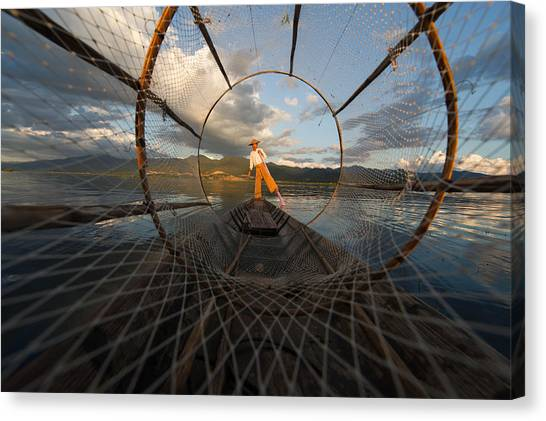 Nets Canvas Print - Fisherman On Inle Lake by Mark Prior