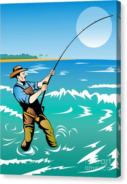 Fishing Canvas Print - Fisherman Surf Casting by Aloysius Patrimonio