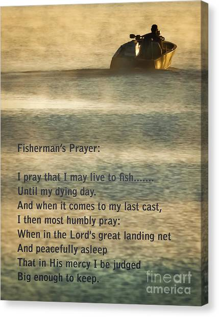 Catfish Canvas Print - Fisherman's Prayer by Robert Frederick