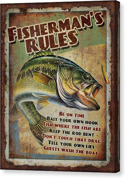 Smallmouth Bass Canvas Print - Fisherman's Rules by JQ Licensing