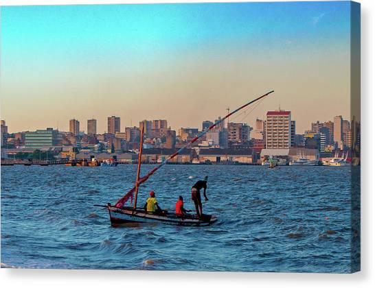 Fishermen And The Maputo Skyline Canvas Print