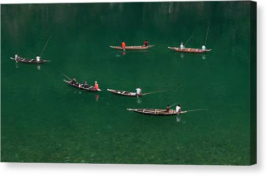 Fishermen At Dawki, Meghalaya, India Canvas Print