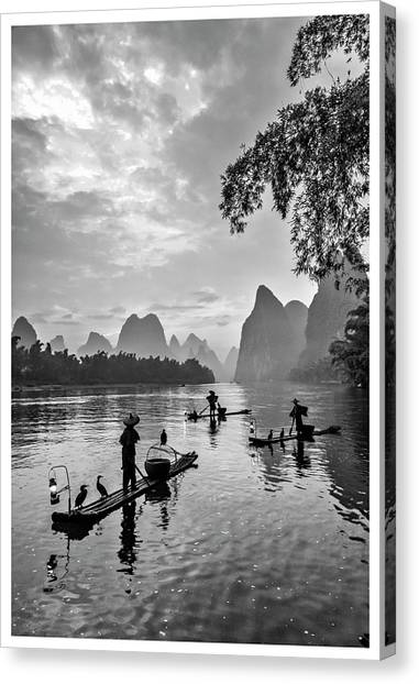 Fishermen At Dawn. Canvas Print