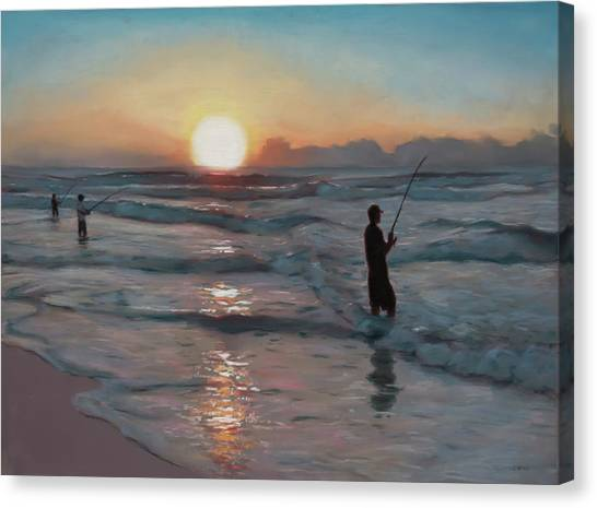 Fishermen At Sunrise Canvas Print