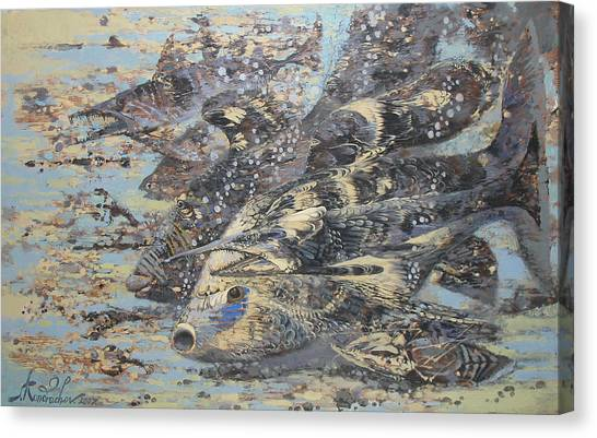 Fishes. Monotype Canvas Print