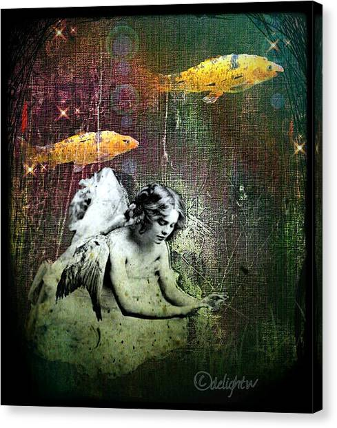 Canvas Print featuring the digital art Fishes Wings by Delight Worthyn