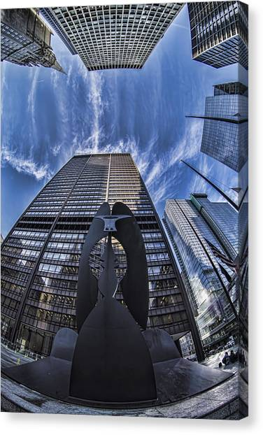 Fisheye View Of Chicago's Picasso Canvas Print