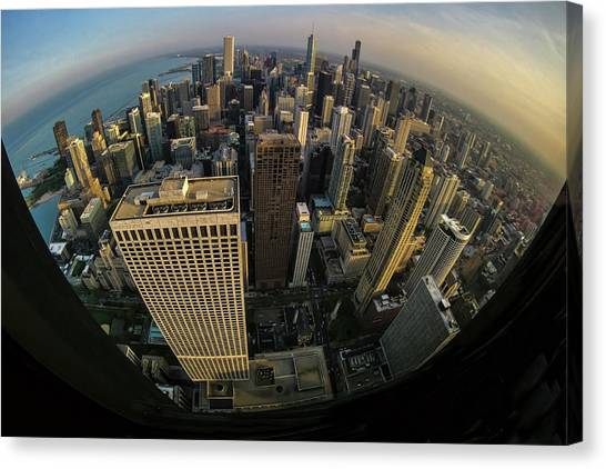 Fisheye View Of Dowtown Chicago From Above  Canvas Print