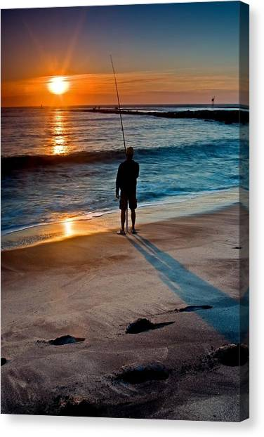 Fishing At Dawn On The Indian River Inlet Canvas Print