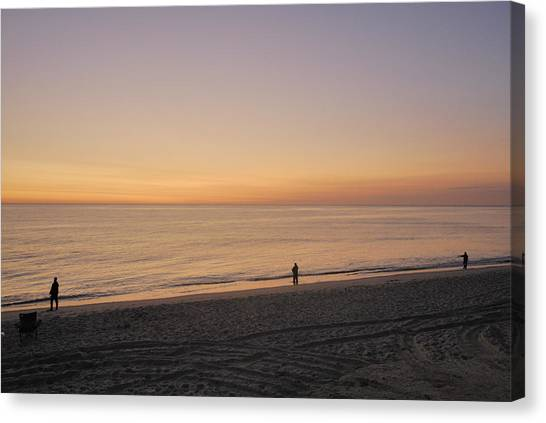 Fishing At Sunrise Canvas Print by Mimi Katz