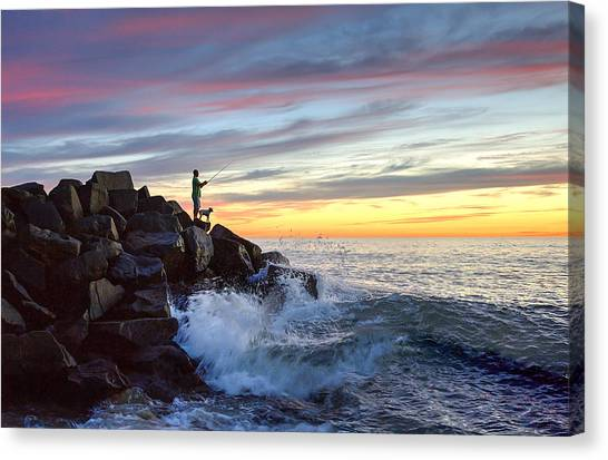 Canvas Print - Fishing At Sunset by Ann Patterson