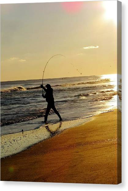 Trout Canvas Print - Fishing At Sunset by Laura Henry