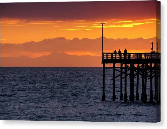 Canvas Print featuring the photograph Fishing At Sunset by Quality HDR Photography