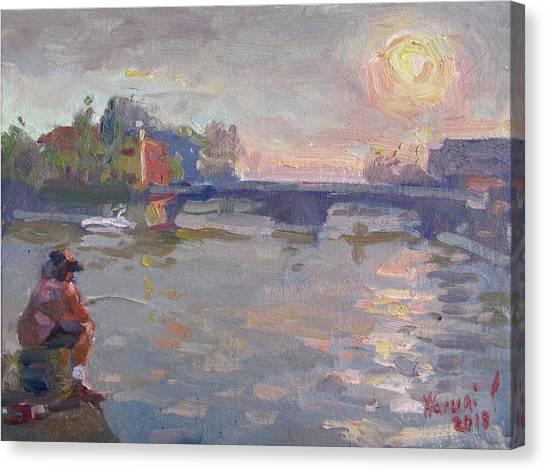 Yachts Canvas Print - Fishing At Sunset  by Ylli Haruni