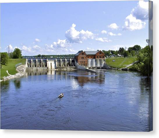 Fishing At The Croton Dam Canvas Print