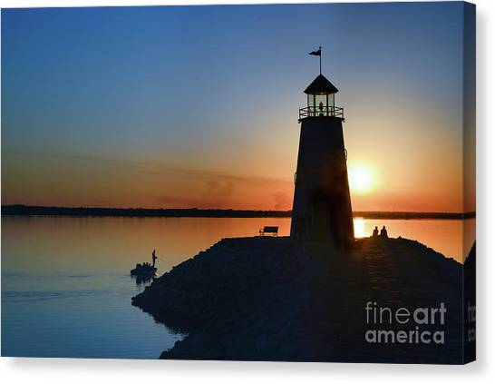 Fishing At The Lighthouse Canvas Print